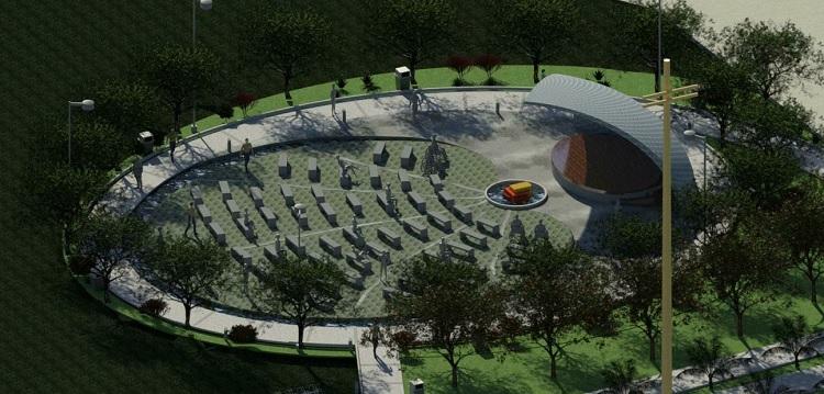 Maquete virtual mostra o projeto da concha acústica em um campo arborizado no Campus Carreiros. O formato é ovalado, remetendo à estrela branca, espécie característica na flora local.